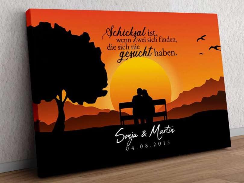 Bild Personalisiert Weihnachten Geschenk Sunset Bench Orange