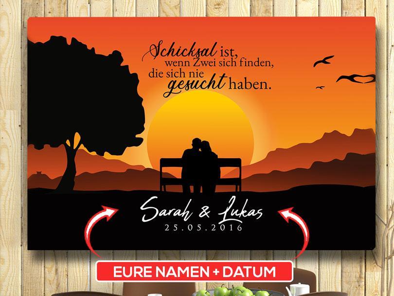 Deko Idee Wandbild Sunset Bench Orange Schwarz