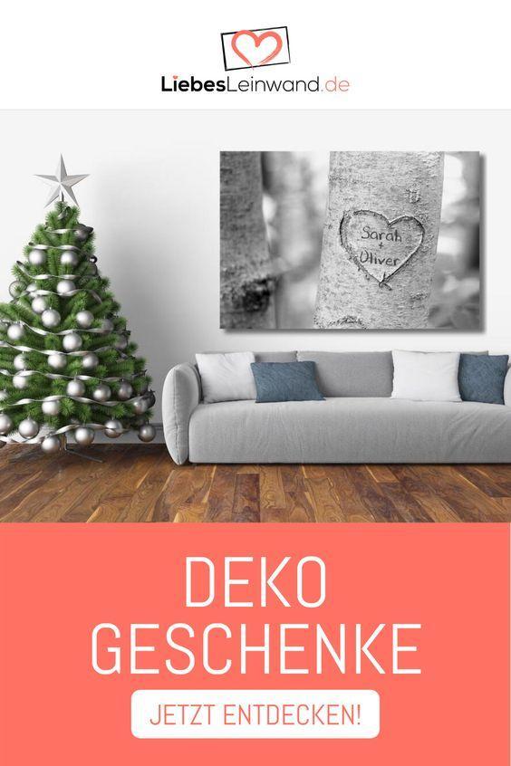 Dekoratives Geschenk Weihnachten Wandbild Leinwand Grau Treeheart