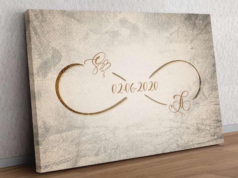 Geschenk Leinwand Romantisch Personalisiert Liebe Paar Initialen You and Me
