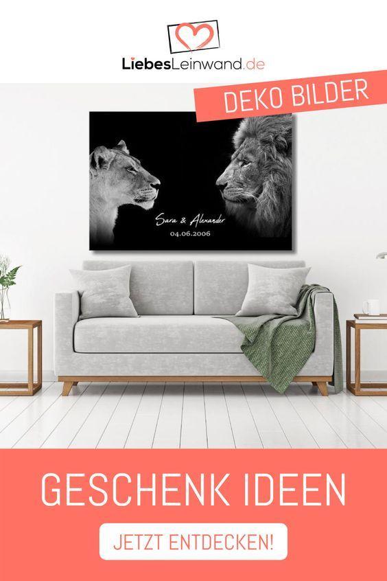 Geschenk Paar Liebe Hochzeit Löwen Namen Datum Schwarz King & Queen