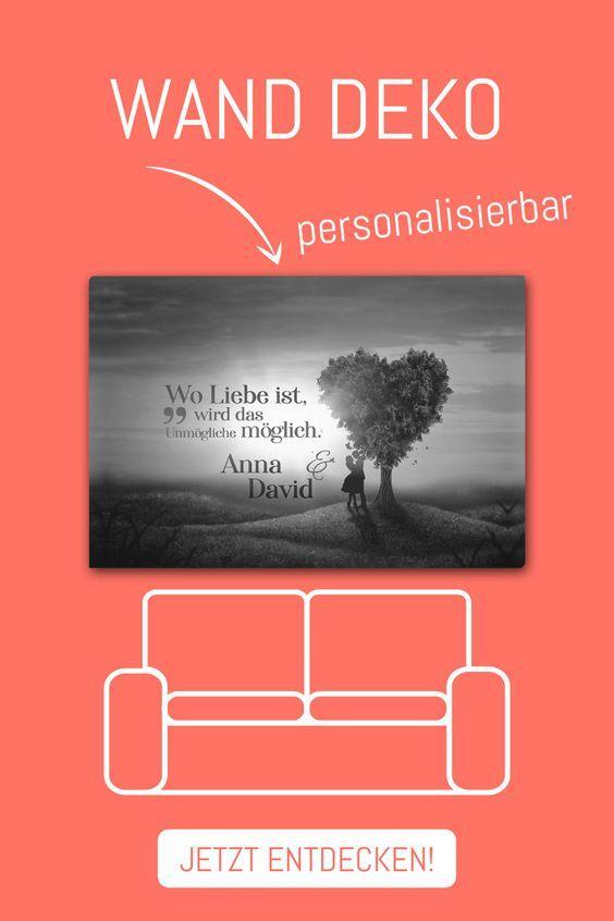 Individuelle Gestaltung Wand Dekoration Bild Leinwand Herz Grau Love Tree