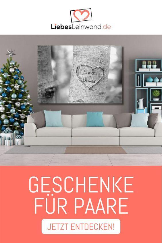 Liebe Paar Geschenk Wandbild Leinwand Individuell Baum Herz Grau Treeheart