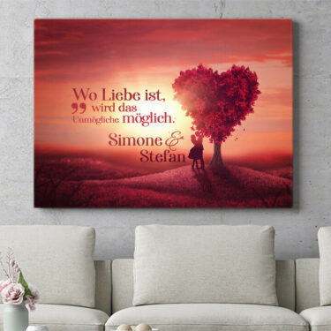 Personalisiertes Leinwandbild Personalisierbares Geschenk Love Tree