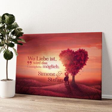 Personalisiertes Leinwandbild Love Tree Wandbild personalisiert