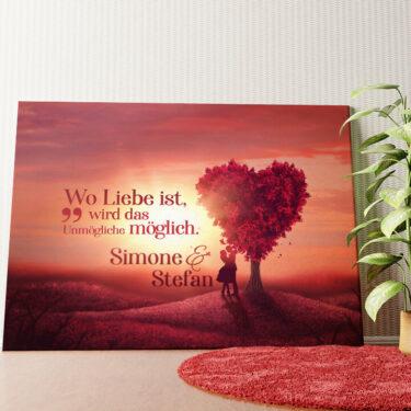 Personalisiertes Leinwandbild Personalisiertes Wandbild Love Tree