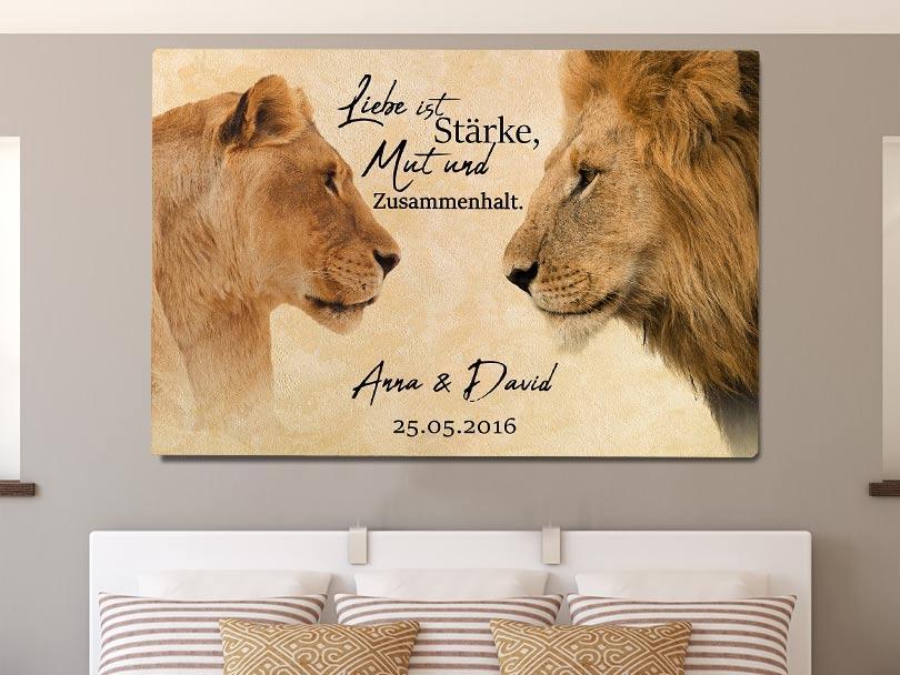 Löwen Leinwand Namen Dekoration Schlafzimmer Braun