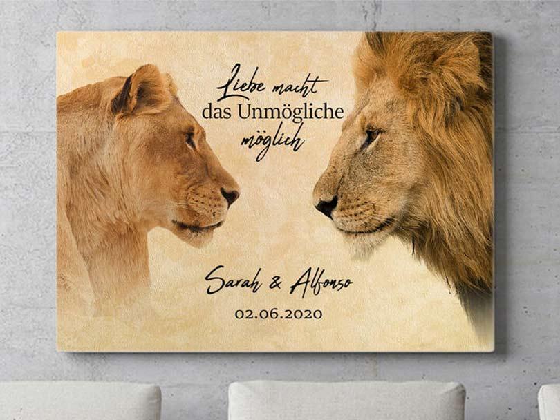 Persönliches Geschenk Wandbild Löwen Braun King & Queen