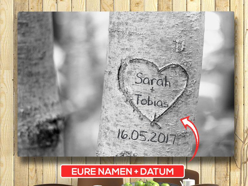 Personalisierbare Wanddeko auf Leinwand Treeheart Herz Grau Baum