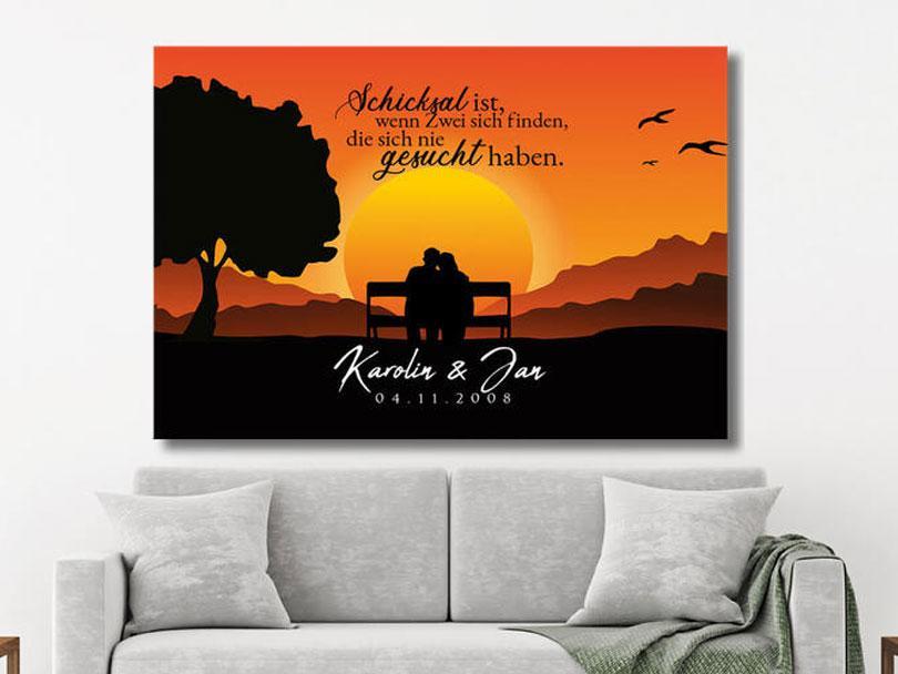 Personalisierte Dekoration Wohnzimmer Leinwand Paare Sunset Bench