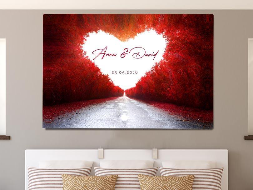 Romantische Dekoration Schlafzimmer Leinwand Love Road Herz Rot