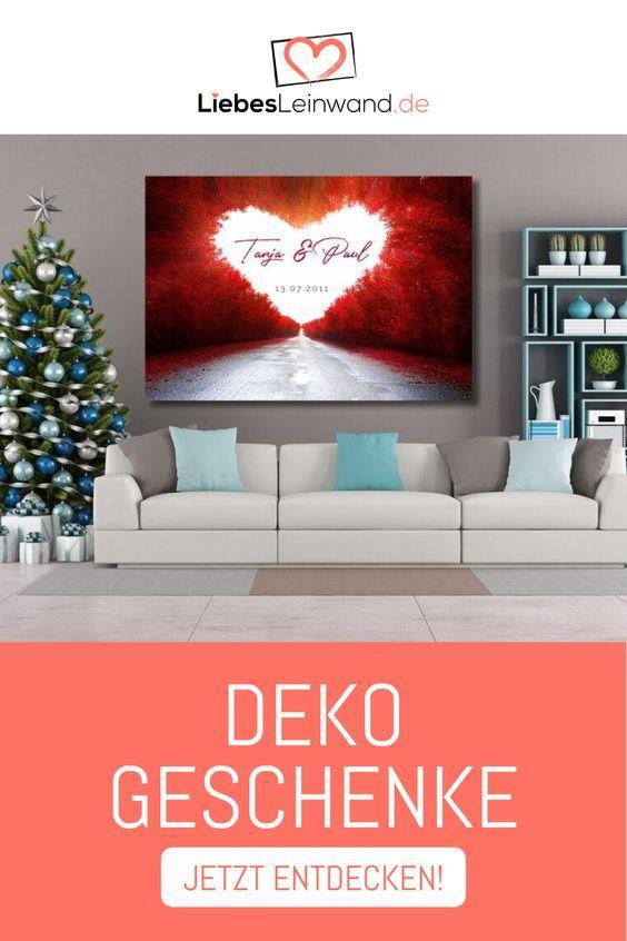 Wandbild Weihnachtsgeschenk Romantisch Rot Herz Love Road