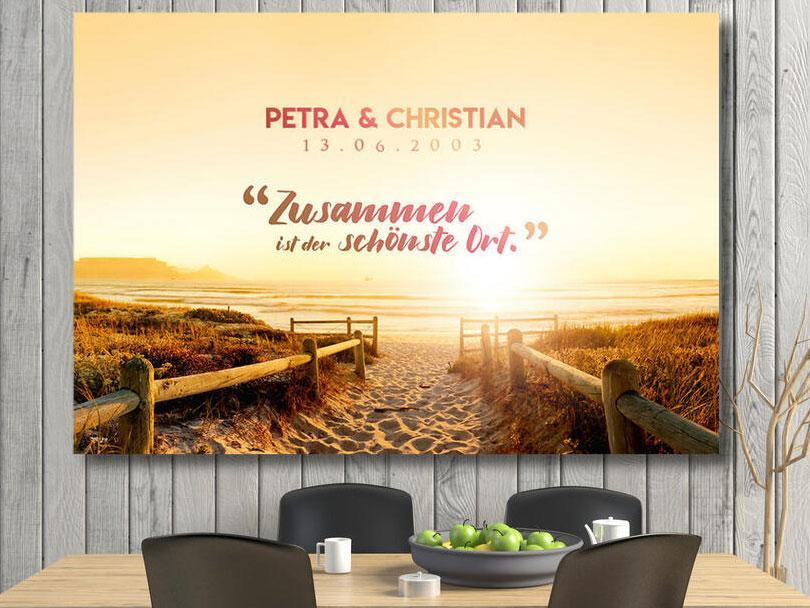 Wohnzimmer Dekoration Leinwand Personalisiert Strand Paar