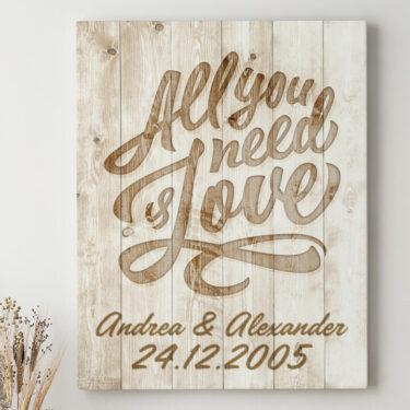 Leinwandbild personalisiert All You Need Is Love