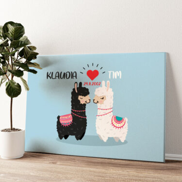 Alpaca-Liebe Wandbild personalisiert