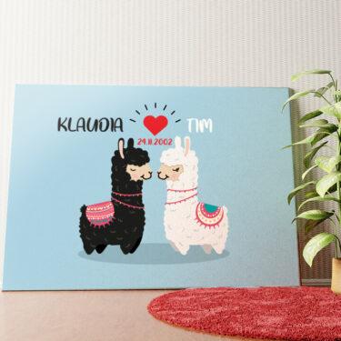 Personalisiertes Wandbild Alpaca-Liebe