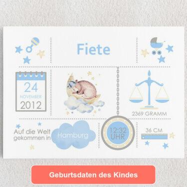 Personalisiertes Leinwandbild Baby Leinwand Bär
