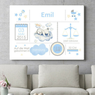 Personalisierbares Geschenk Baby Leinwand Hase auf Wolke
