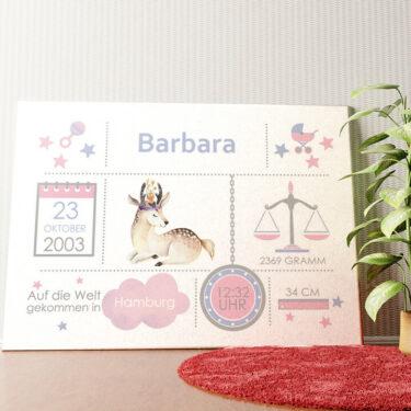 Personalisiertes Wandbild Baby Leinwand Rehkitz