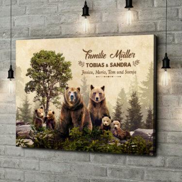 Leinwandbild personalisiert Bärenfamilie