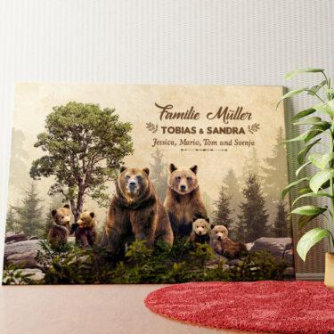 Personalisiertes Wandbild Bärenfamilie