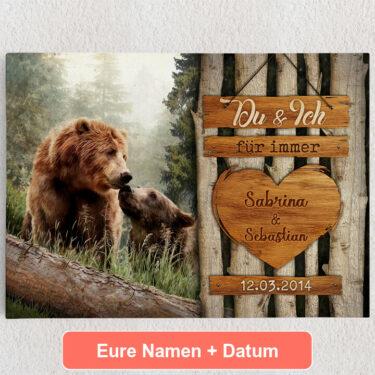Personalisiertes Leinwandbild Bärenliebe