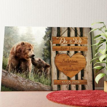 Personalisiertes Wandbild Bärenliebe