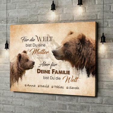 Leinwandbild personalisiert Bärenmutter