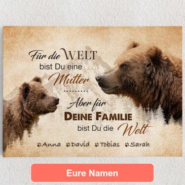 Personalisiertes Leinwandbild Bärenmutter