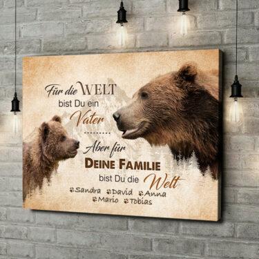 Leinwandbild personalisiert Bärenvater