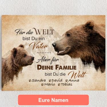 Personalisiertes Leinwandbild Bärenvater