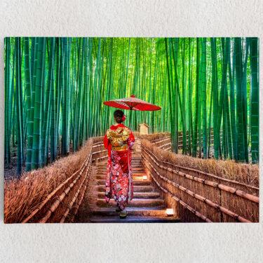 Personalisiertes Leinwandbild Bambuswald