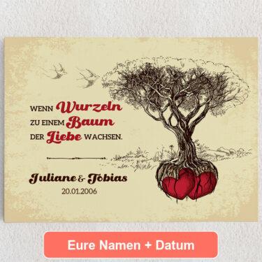 Personalisiertes Leinwandbild Baum der Liebe