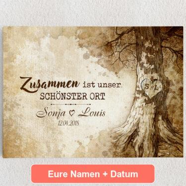 Personalisiertes Leinwandbild Baumherz