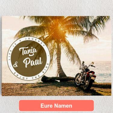 Personalisiertes Leinwandbild Biker Love