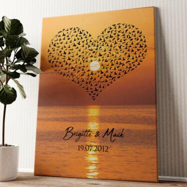 Birds of Love Wandbild personalisiert
