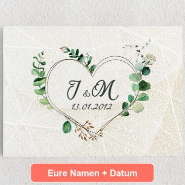Personalisiertes Leinwandbild Blumenherz