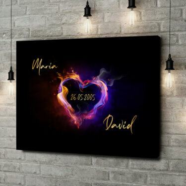 Leinwandbild personalisiert Burning Hearts