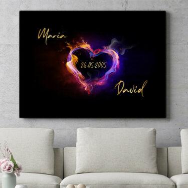 Personalisierbares Geschenk Burning Hearts