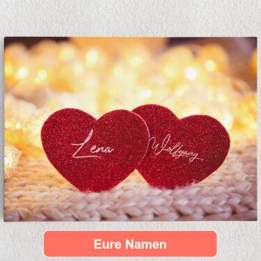 Personalisiertes Leinwandbild Couple Hearts