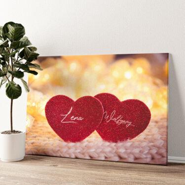 Couple Hearts Wandbild personalisiert