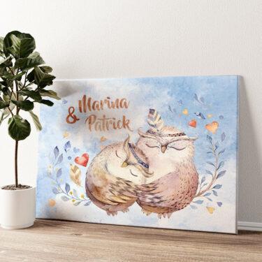 Cuddle Owls Wandbild personalisiert