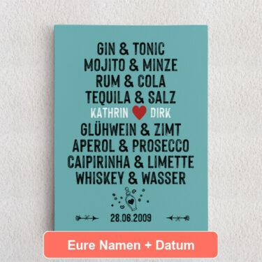 Personalisiertes Leinwandbild Du & Ich - Drinks