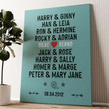 Du & Ich - Filmpaare Wandbild personalisiert