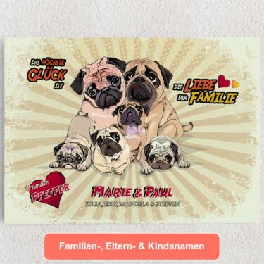 Personalisiertes Leinwandbild Eine Familie zum Knuddeln