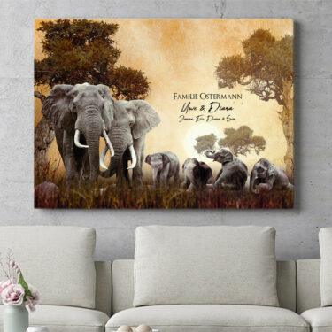 Personalisierbares Geschenk Elefantenfamilie