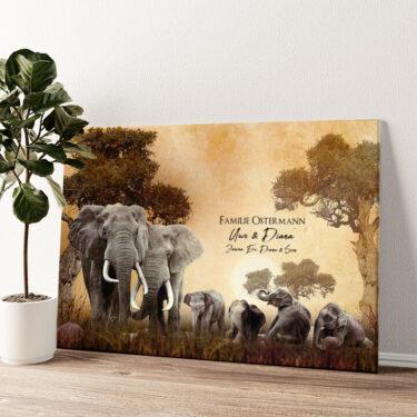 Elefantenfamilie Wandbild personalisiert