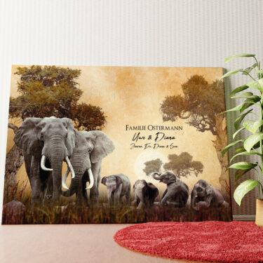 Personalisiertes Wandbild Elefantenfamilie