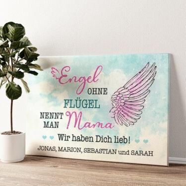 Engel der Familie Wandbild personalisiert