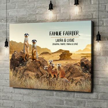 Leinwandbild personalisiert Erdmännchen-Familie